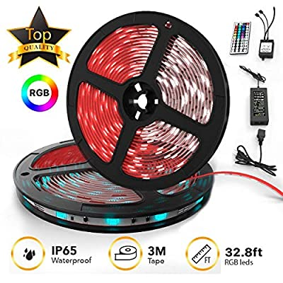 Upgraded 2019 LED Strip Lights Kit 2-Pack x 5M w/Extra Adhesive 3M Tape - 32.8ft 300 LEDs SMD 5050 RGB Light, 44 Key Remote Controller, Flexible Changing Multi-Color Lighting Strips for TV, Room