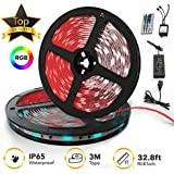 TBI Pro 32.8ft 300LEDs SMD 5050 RGB, 44 Key Remote Controller Upgraded 2019 LED Strip Lights Kit 2-Pack x 5M w/Extra Adhesive 3M Tape, Flexible Changing Multi-Color for TV, Room