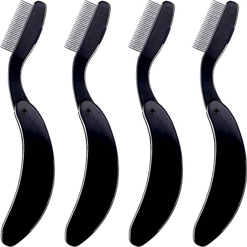 (TecUnite 4 Packs Folding Eyelash Comb, Stainless Steel Teeth Eyebrow Comb Lash and Brow Makeup Brush (Black))