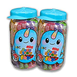 Narwhal Mini-Jelly Straws - Assorted Flavors 800g PET Jar (Pack of 2 Jars)