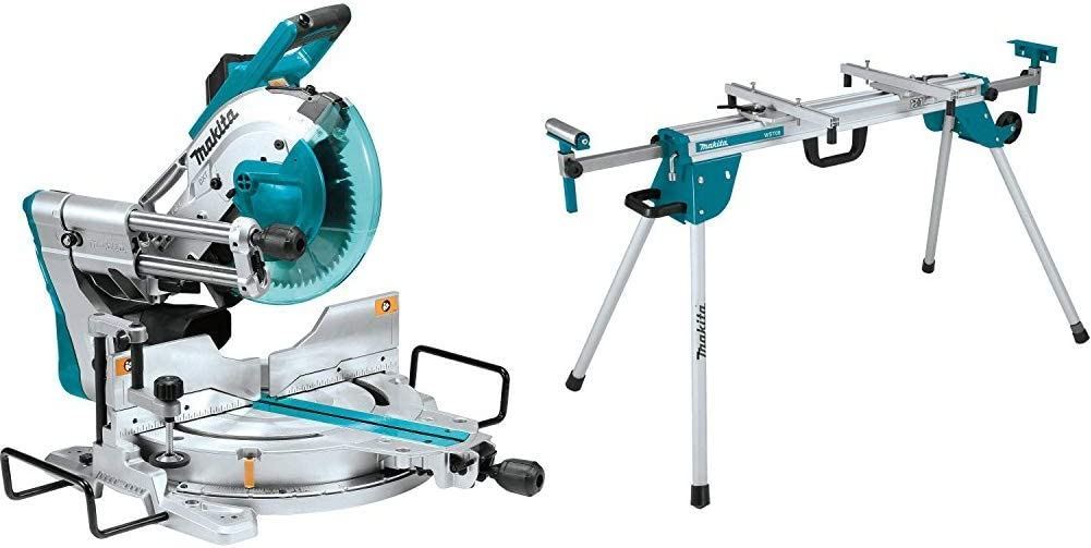 Makita LS1019L 15-Amp 10 inch Dual-Bevel Sliding Compound Miter Saw with Laser with WST06 Compact Folding Miter Saw Stand