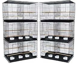 Brand New Lot of Six Aviary Breeding Bird Cage 24x16x16/Stand w/Divider- BLACK