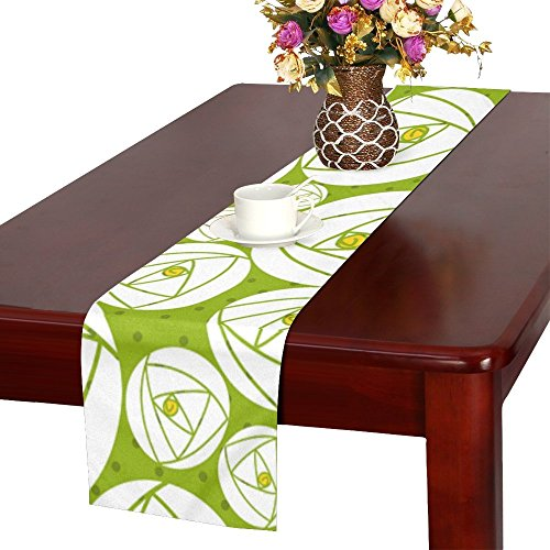QYUESHANG Rose Abstract Rose Garden Charles Rennie Mackintosh Table Runner, Kitchen Dining Table Runner 16 X 72 Inch For Dinner Parties, Events, Decor