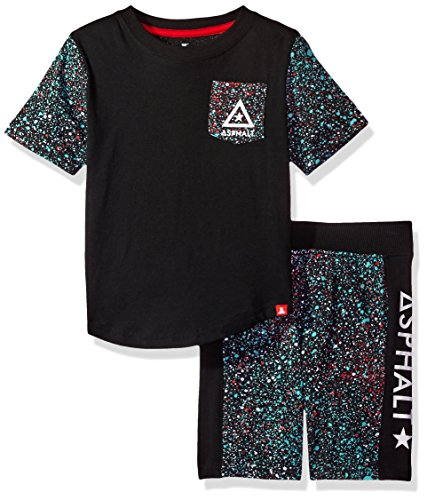Asphalt Yacht Club Little Boys' Tee Shirt and Short Set, Black, M5/6