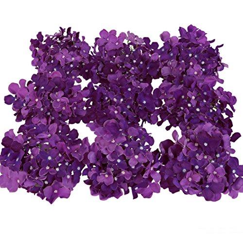 Luyue Silk Hydrangea Heads Artificial Decoration Flowers Garden Floral Decor,Pack of 10 (Dark (Dark Purple Flower)