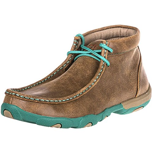 Twisted X Women's Driving Moccasin Bomber Turquoise (Mock Lace Up Boots)