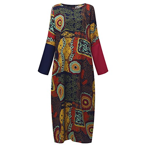 SIMSHION Womens Elegant Vintage Plus Size Maxi Long Dress Floral Print Kaftan Long Gown