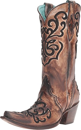 CORRAL Women's Cord Stitch Cowgirl Boot Snip Toe Brown 10 M US
