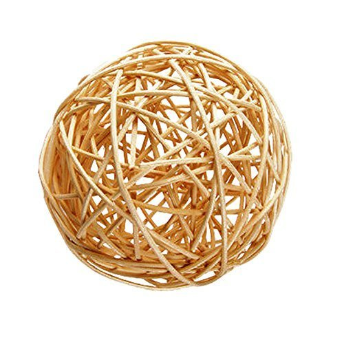 "Custom & Fancy {4"" Inch} Approx 90 Pieces of Large Round Ball ""Table"" Party Confetti Made of Premium Rattan w/ Natural Modern Look Simple Creative Light Stick Twig Nest Scatter Filler Design [Tan]"