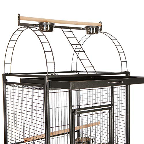 95b26e7f2890 VECELA Bird Cage Play Top Parrot Cage 68 Inch Large Bird Cage with Unique  Circular Staircase Birdcage for Parrot Large Pet House Black