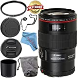 Canon EF 100mm f/2.8L Macro IS USM Lens 3554B002 + 67mm UV Filter + Fibercloth + Lens Capkeeper Bundle