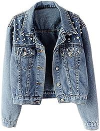 Women's Embroidered Pearls Beading Denim Jean Jacket Coat