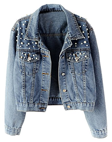 Denim And Tweed Jacket - LifeShe Women's Embroidered Rivet Pearl Denim Jacket Coat (Blue, XS)