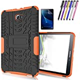 Galaxy Tab A 10.1 Case, Windrew Heavy Duty Hybrid Protective Case with Kickstand Impact Resistant For Samsung Galaxy Tab A 10.1 Inch SM-T580 SM-T585 + Screen Protector Film and Stylus Pen (Orange)