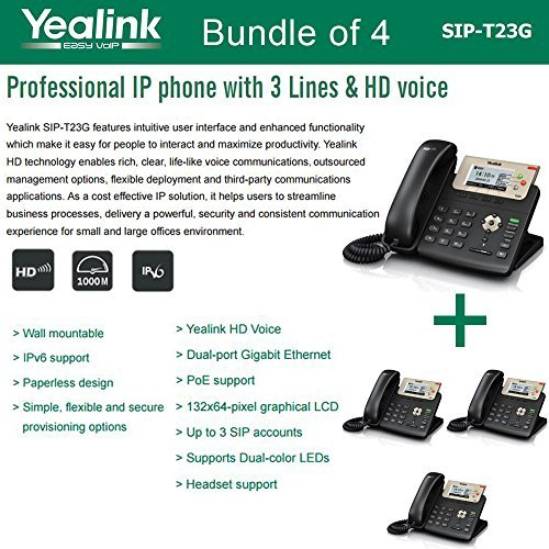Yealink SIP-T23G, 3 Lines HD Professional VoIP Phone, 3SIP Accts, 3way conf., dual port Gigabit, PoE, BUNDLE of 4 by Yealink
