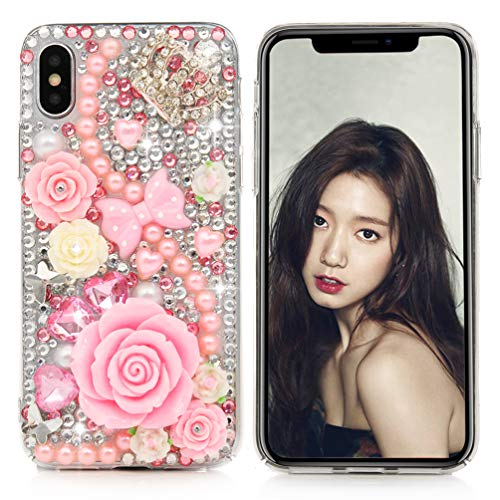Hard Case Plastic Bling (iPhone X Case, iPhone Xs Case, Mavis's Diary Full Edge Protective Plastic Case, 3D Handmade Crystal Clear Bling Diamonds Shiny Rhinestone Pearl Pink Soft Peach Blossom Hard PC Cover for iPhone X/XS)