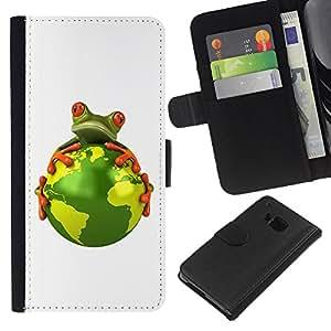 KingStore / Leather Etui en cuir / HTC One M9 / Planeta Tierra Medio Ambiente Calentamiento Global de la rana