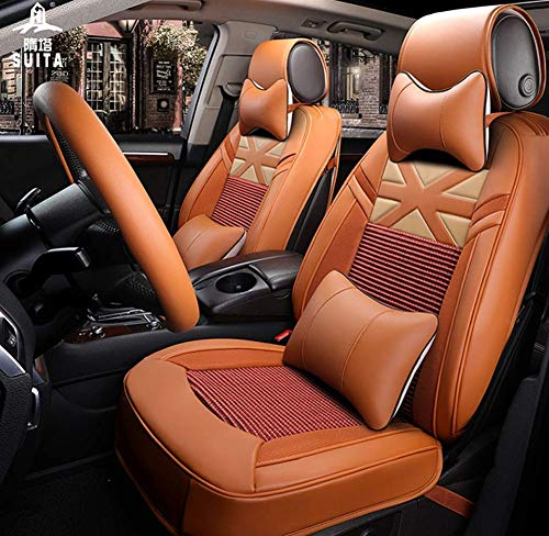 AYCYNI Ice Silk Car Seat Cover - Non-Slip Suede Backing Universal Fit Cushion For Fabric And Leather Car Seats,Beige,Orange: Kitchen & Home