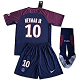 StarSoccer Neymar #10 2017-2018 New PSG FC Home Jersey Shorts and Socks for Kids/Youth