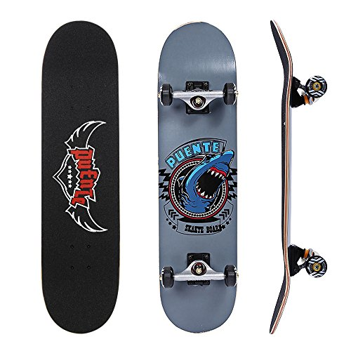 (PUENTE 608 Skate Skateboards Complete with Ergonomic Mellow Concave, ABEC-9 BBS,95A Anti-Slip Smooth and Mute Wheel for Adults and Kids Beginners, 400lbs (Gray))