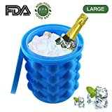 Saving Ice Cube Maker Genie Silicone, Ice Bucket The Revolutionary Space Saving Ice Ball Maker Bucket Party Drink Tub Silicone for Whiskey Cocktail Beverages and More(5.1 X 4.7 X 4.7 72OZ)