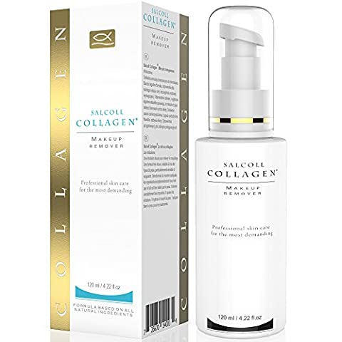 SALCOLL COLLAGEN Makeup Remover - Marine Collagen with Vitamin F - Gentle & Effective Neck, Face & Eye Makeup Remover - Hydrates, Restores, Nourishes Skin - Hypoallergenic, For All Skin Types - 120 ml