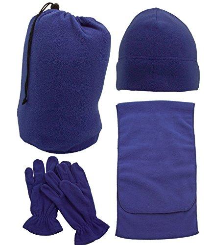 Unisex Adult Winter Wholesale Ski Beanie Scarf Gloves Set, Cobalt - Wholesale Ski Gloves