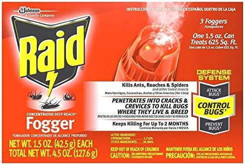 Raid Concentrated Deep Reach Fogger, 1.5 OZ, 3 CT