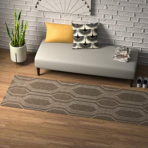 Rivet Steel Slanted Lines Wool Modern Runner Rug, 2 6 x 8