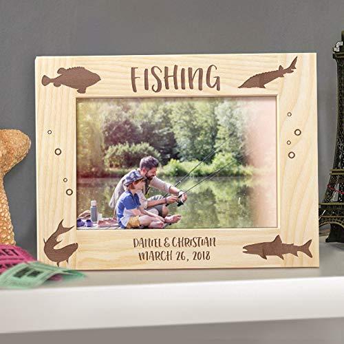 [해외]낚시 개인 목조 액자 4 인치 × 6 인치 (좁게) 라이트 브라운 (가로) / Fishing Personalized Wooden Picture Frame 4 x 6 (narrowed) Light Brown (Horizontal)
