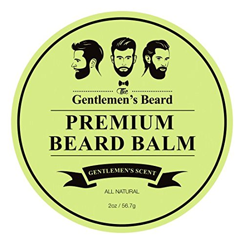 The Gentlemens Beard Premium Beard Balm - Gentlemens Scent - Leave-in Conditioner & Softener - All Natural - Styles, Strengthens, Thickens & Softens Promoting Healthier Beard & Mustache Growth