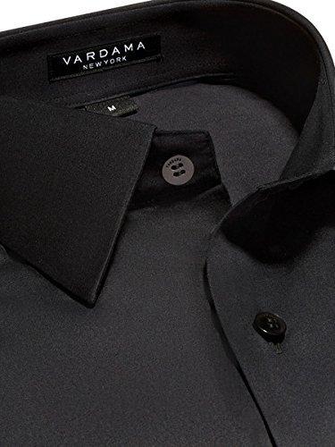Vardama Mens Performance Black Dress Shirt with Sweat Resistant Tech Satin Finish Astor Tailored Fit