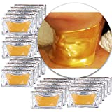 Anti Aging Treatments Set of 25pcs Neck Chest Décolleté 24 K Gold Golden Collagen Gel Crystal Masks Patches Sheets for Wrinkles Removal, Skin Toning, Firming, Discolorations and Moisturizing