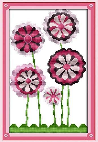 De punto de cruz bordado Kit de inicio incluido 14 ct estampada Aida pre-sorted Colored hilos y herramientas diseño de tela de algodón con diseño de flores, color morado: Amazon.es: Juguetes y
