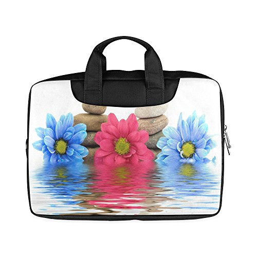 Laptop Notebook Pink Blue Flower Daisy and Stones Handle Sleeve Bag Case Cover for 11 inches MacBook Pro(Twin Sides Printing)