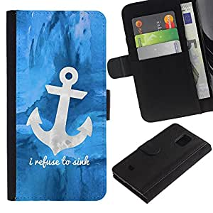 All Phone Most Case / Oferta Especial Cáscara Funda de cuero Monedero Cubierta de proteccion Caso / Wallet Case for Samsung Galaxy S5 Mini, SM-G800 // Blue Anchor Sea Sailor Boat Ship