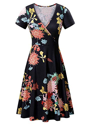 TORARY Women Short Sleeves Cross Wrap V Neck Boho Summer Fit n Flared A-Line Midi Dresses 2019 X-Large