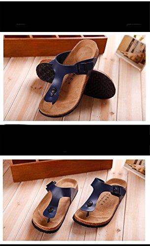 BININBOX Mens Flip-Flops Flat Sandal Breathable Shoe Open-Toe Slippers Cork Blue 3ciSpcg