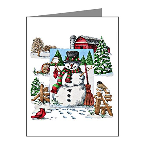 Note Card Christmas Snowman and Cardinals
