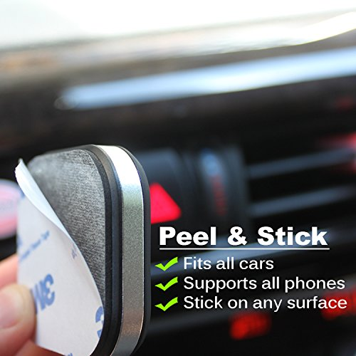 Magnetic Phone Mount with Peel & Stick Installation (Aluma Series) – Dashboard Cell Phone Holder – Will Hold All Smartphones & Mini Tablets – Premium Aluminum Magnetic Car Mount by Mengo - Universal