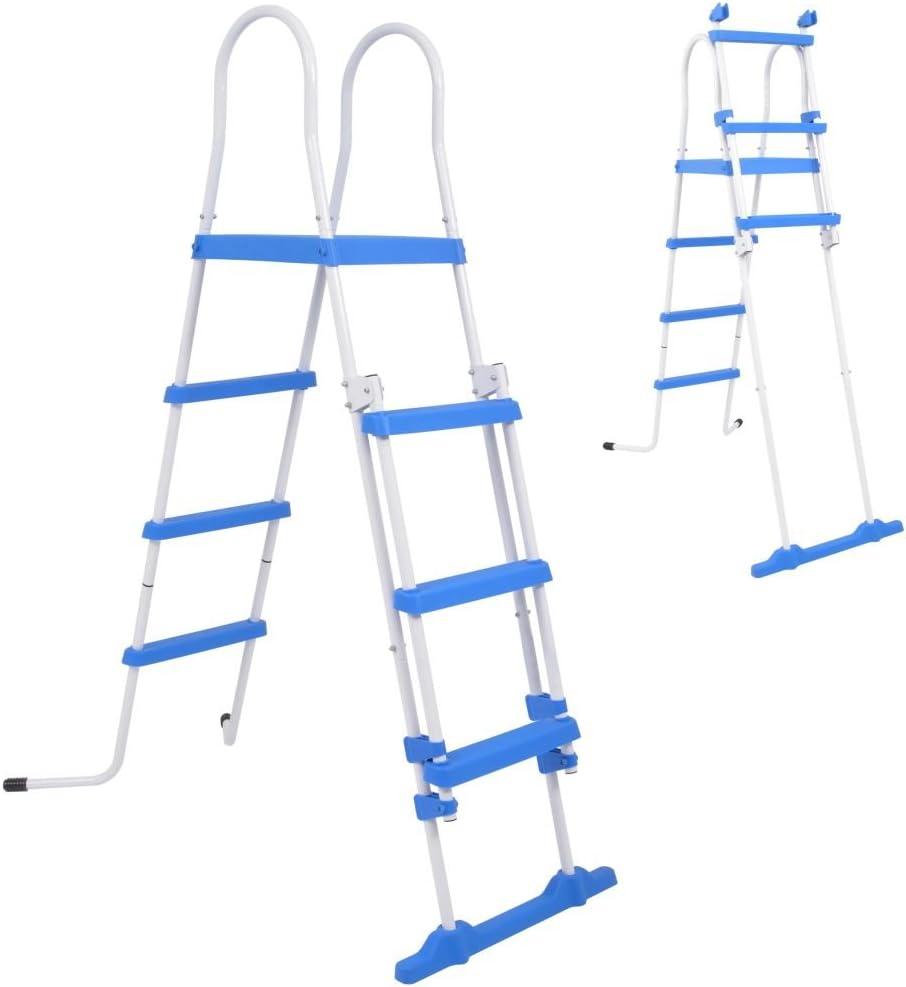 mewmewcat Escalera de Seguridad para Piscina con 3 Peldaños Azul y Blanco