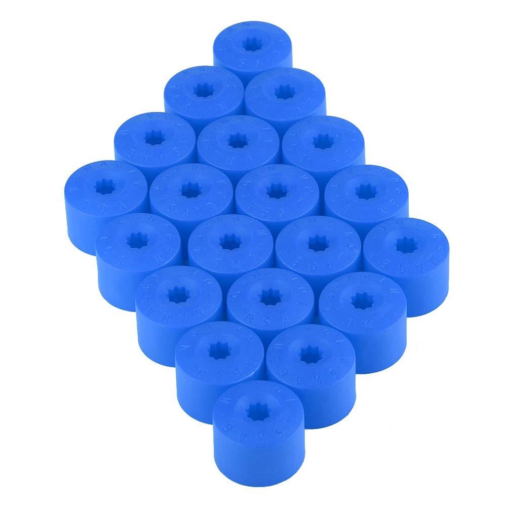 20pcs 17mm blocco della ruota lug bullone cap coperchio tappo ruota auto mozzo vite protezione antipolvere antifurto Blue