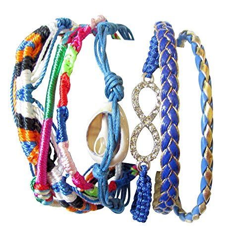 Multi-strand Color Blend Satin Cord Bracelet with Cowry Shell and Rhinestone Infinity Symbol 3 Styles (ATLANTIC)