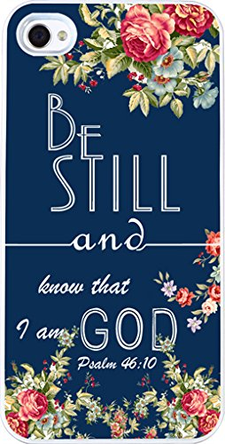 4S Case Christian Sayings,Hungo Thin Soft TPU Silicone Protective Cover Shell Compatible for iPhone 4S/4 Bible Verses Be Still and Know That I am God Psalm 46:10