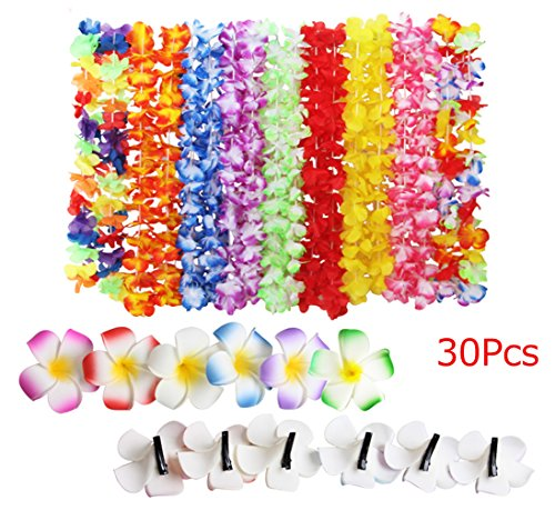 Fighting to Achieve Hawaiian Flowers Necklaces Wreaths(18Pcs) Hair Clips(12Pcs) for Holiday Beach Party -