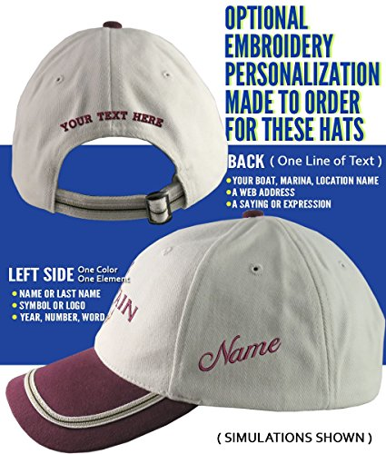 16d36489804fc Nautical Star Anchor Captain and Crew Embroidery Adjustable Beige and  Burgundy Structured Baseball Cap Options to