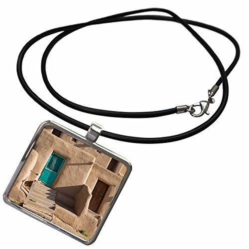 3dRose Danita Delimont - New Mexico - New Mexico, Taos Pueblo, North House Adobe Home - US32 JWI0493 - Jamie and Judy Wild - Necklace with Rectangle Pendant (ncl_92834_1)