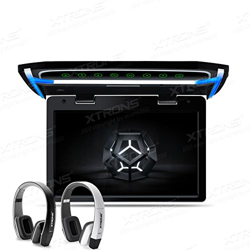 XTRONS 10.2 Inch Digital TFT Screen 1080P Video Car Overhead Player Roof Mounted Monitor HDMI Port New Version IR Headphones(Black&White)