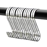 20 Pack Flat S Hooks Stainless Steel 3 inches S Shaped Hanging Hooks for Kitchen, Bathroom, Bedroom and Office (Medium)