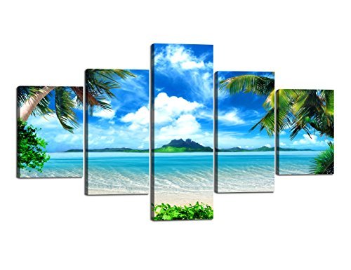 Yatsen Bridge Extra Large Modern Landscape Seascape Pictures Painting on Canvas 5 Panels Combination Set for Living Room Home Decor Wall Art Framed Stretched (70''W x 40''H)